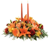 Bright Autumn Centerpiece from Lagana Florist in Middletown, CT